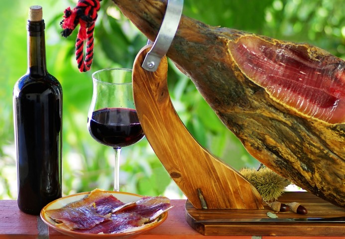 Jamon of spain and red wine.